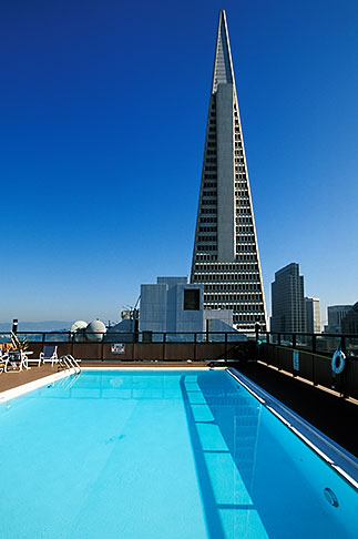 image 3-1014-1 California, San Francisco, Rooftop swimming pool and Transamerica pyramid