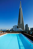 blue sky stock photography | California, San Francisco, Rooftop swimming pool and Transamerica pyramid, image id 3-1014-1