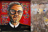 wall art stock photography | California, San Francisco, Balmy Alley, Monse�or Oscar Romero, � 1996, Juana Alicia, image id 3-1014-96