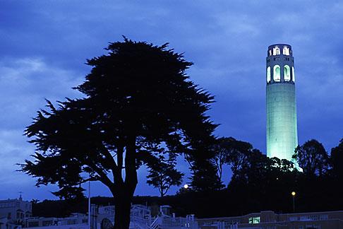 image 4-516-29 California, San Francisco, Coit Tower at night from Washington Square
