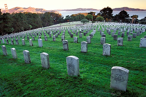 4-524-9  stock photo of California, San Francisco, Military Cemetery, Presidio, GGNRA