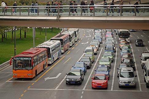 image 7-620-3448 China, Shanghai, Traffic on city street