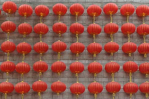 image 7-620-3589 China, Shanghai, Red Chinese lanterns