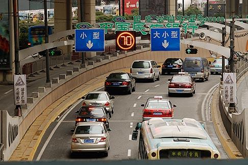image 7-620-3778 China, Shanghai, Traffic on city street