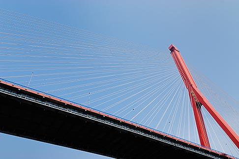 image 7-620-4046 China, Shanghai, Yangpu Bridge, cable stayed bridge across the Huangpu River