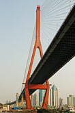 river stock photography | China, Shanghai, Yangpu Bridge, cable-stayed bridge across the Huangpu River, image id 7-620-4130