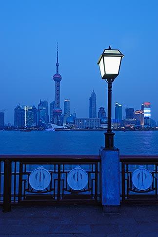 image 7-620-4172 China, Shanghai, Pudong skyline and the Bund Promenade at night