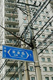 apartment building stock photography | China, Shanghai, Electrical wires and apartment building, image id 7-620-4195
