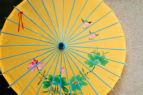image 7-620-4395 China, Shanghai, Yellow parasol with floral design