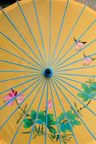 image 7-620-4397 China, Shanghai, Yellow parasol with floral design