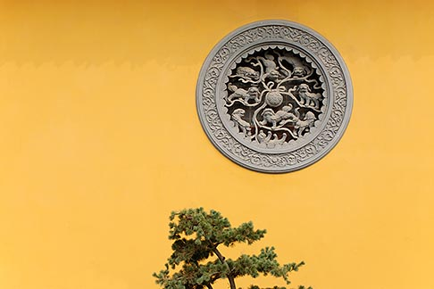 image 7-620-4825 China, Shanghai, Longhua Temple, window and pine tree