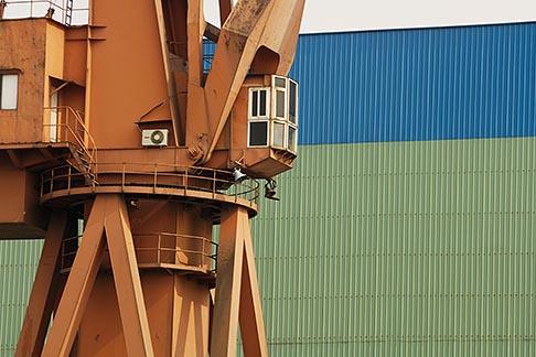 image 7-620-9249 China, Shanghai, Crane in shipyard