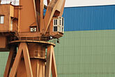 blue stock photography | China, Shanghai, Crane in shipyard, image id 7-620-9249