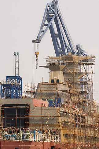 image 7-620-9287 China, Shanghai, Crane in Shipyard