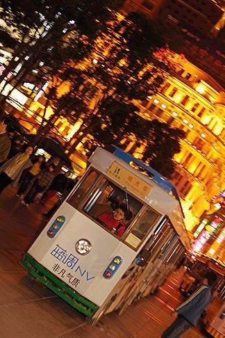 image 7-620-9722 China, Shanghai, Nanjing Road, Pedestrian shopping street, tourist trolley