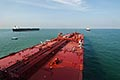 tanker stock photography | Shipping, Oil tanker, view from bridge towards bow, image id 7-677-9092