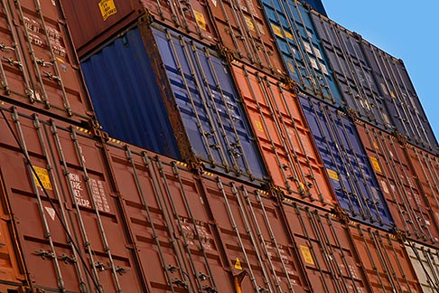 image 7-678-5488 Shipping, Shipping containers stacked on dock