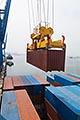 container being lifted by crane stock photography | Shipping, Container being lifted by crane, image id 7-678-5663