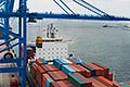 container shipping stock photography | Shipping, Container ship in port with crane and containers, image id 7-678-9659