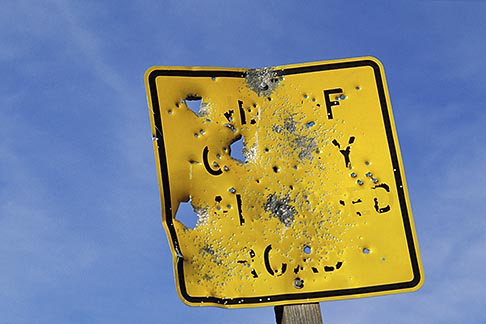 image 2-180-19 Sign, Target practice on road sign