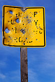 notice stock photography | Sign, Target practice on road sign, image id 2-180-21