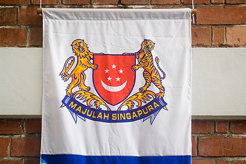 image 7-680-4302 Singapore, Banner with Singapore coat of arms