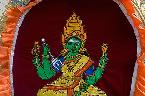 image 7-680-8696 Religion, Tapestry of seated Hindu goddess