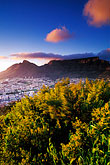 downtown at dawn stock photography | South Africa, Cape Town, Table Mountain and city at dawn from Lion