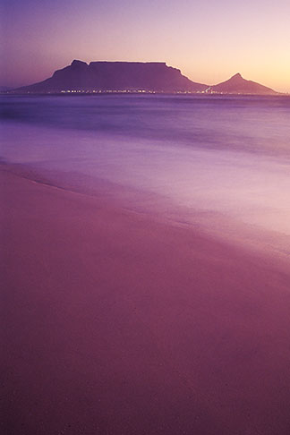image 5-475-41 South Africa, Western Cape, Table Mountain at dusk from Bloubergstrand