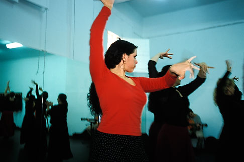 image 1-202-35 Spain, Jerez, Senora Angelita Gomez, flamenco class