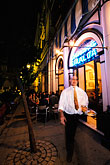 outdoor cafe stock photography | Spain, Seville, Restaurant at night, Cerveceria Giraldo, image id 1-250-39