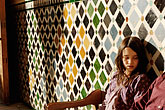 pause stock photography | Spain, Granada, Young girl, Palacio Nazaries, The Alhambra, image id S4-540-9813