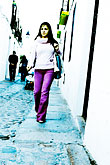 purple stock photography | Spain, Cordoba, Woman walking down the street, image id S4-542-0050