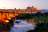 dusk stock photography | Spain, Cordoba, La Mezquita from across the Guadalquiver , image id S4-542-0450