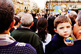 happy stock photography | Spain, Madrid, Young boy in crowd, image id S4-545-671
