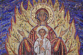blue stock photography | Religious Art, Mosaic of Burning Bush, St Gregory Nyssen Church, image id 3-326-50