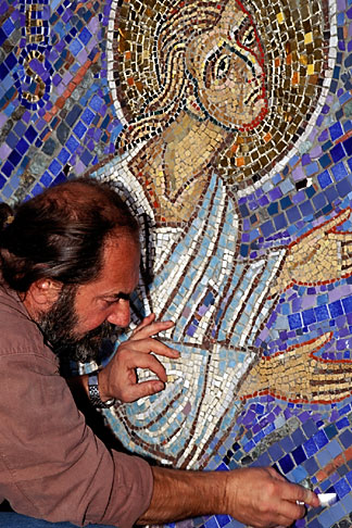 image 3-328-30 California, San Francisco, Mosaicist, Felix Boukh at work, St Gregory Nyssen Episcopal Church