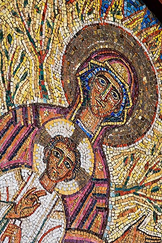 image 5-820-3260 Religous Art, Mosaic of Mary and Jesus