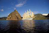 clipper ships stock photography | St. Lucia, Soufri�re, Royal Clipper and the Pitons, image id 3-620-12