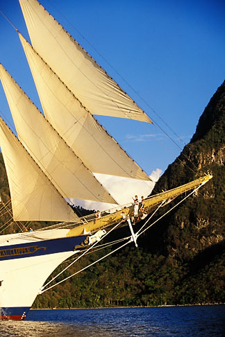 image 3-620-14 St Lucia, Soufriere, Royal Clipper and Gros Piton