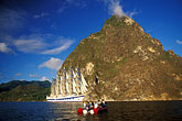 horizontal stock photography | St. Lucia, Soufri�re, Royal Clipper and the Pitons, image id 3-620-27