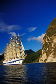 vertical stock photography | St. Lucia, Soufri�re, Royal Clipper and the Pitons, image id 3-620-34