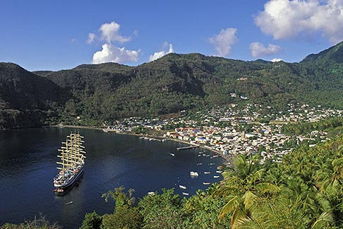 image 3-620-67 St Lucia, Soufriere, Royal Clipper sailing ship in Soufriere Bay