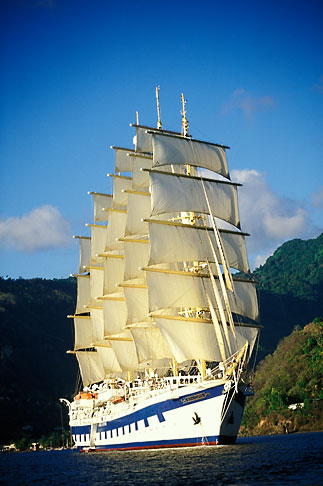 3-620-7  stock photo of St Lucia, Soufriere, Royal Clipper sailing ship