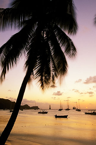 image 3-610-54 Travel, Caribbean beach sunset, St Vincent, Bequia harbor