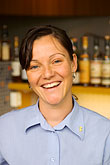 happy stock photography | Sweden, G�teborg, Restaurant Fond, waitress, image id 5-700-2212