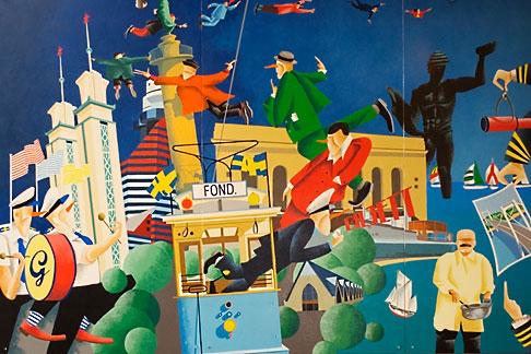 image 5-700-2219 Sweden, Goteborg, Restaurant Fond, Mural