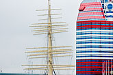 clipper ships stock photography | Sweden, G�teborg, G�teborg Harbor, Barkenviking and Harbor Center, image id 5-700-4861