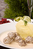 mashed potato stock photography | Swedish food, Swedish Meatballs with lingonberries, image id 5-700-5257