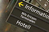 information sign stock photography | Sweden, G�teborg, Train station sign, image id 5-700-5821